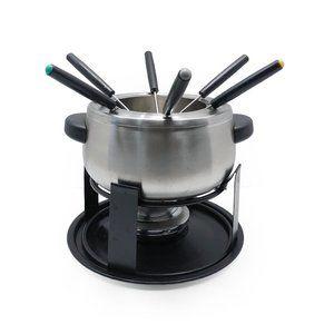 Other - 13-Piece Silver Fondue Pot Set on Black Stand